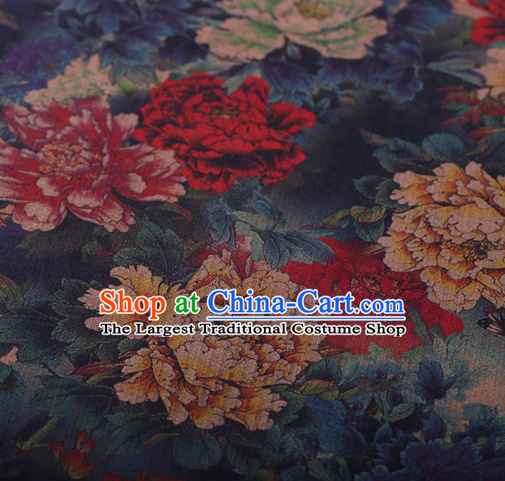 Chinese Traditional Silk Fabric Classical Peony Pattern Blue Satin Plain Cheongsam Drapery Gambiered Guangdong Gauze