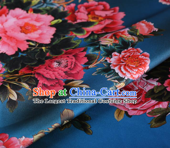 Chinese Traditional Silk Fabric Classical Peony Pattern Lake Blue Satin Plain Cheongsam Drapery Gambiered Guangdong Gauze