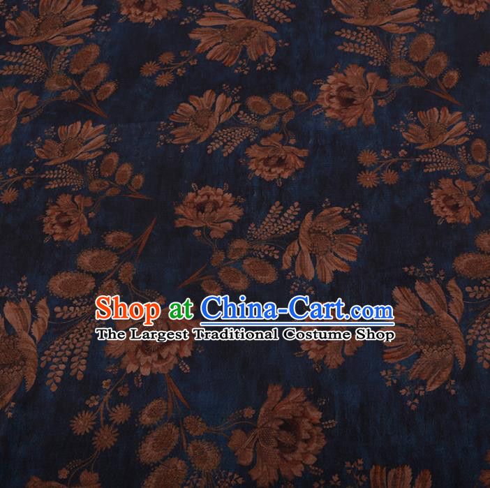 Asian Chinese Silk Fabric Traditional Classical Pattern Blue Satin Plain Cheongsam Drapery Gambiered Guangdong Gauze