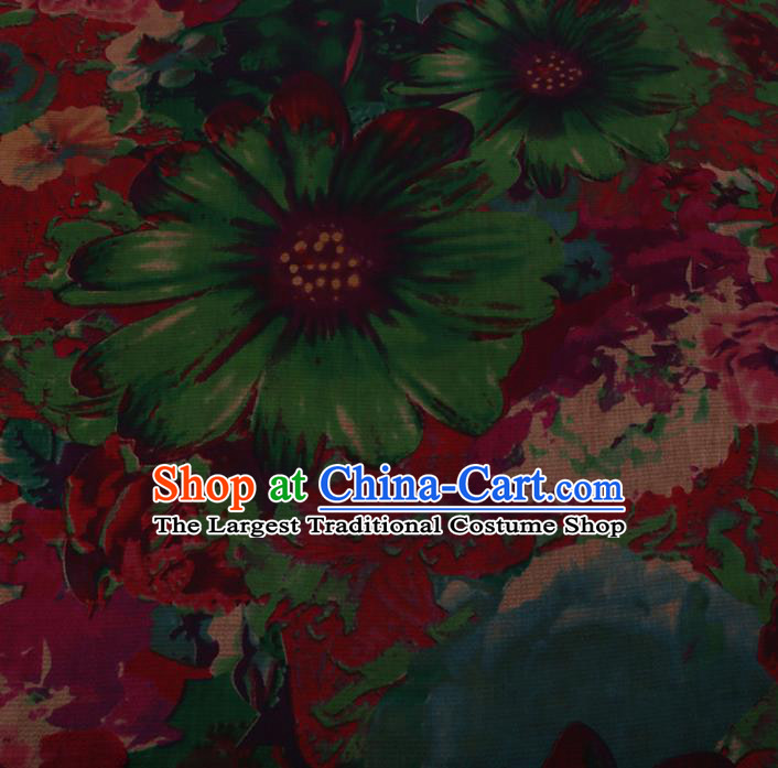 Asian Chinese Silk Fabric Traditional Classical Pattern Red Satin Plain Cheongsam Drapery Gambiered Guangdong Gauze