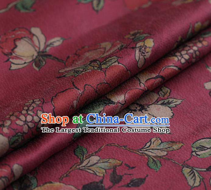 Asian Chinese Silk Fabric Traditional Classical Roses Pattern Rosy Satin Plain Cheongsam Drapery Gambiered Guangdong Gauze