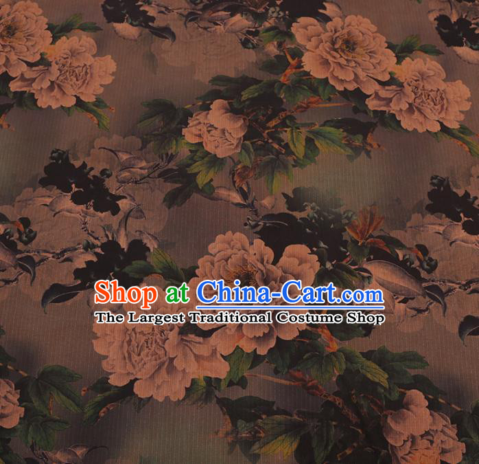 Asian Chinese Gambiered Guangdong Gauze Traditional Brown Satin Plain Classical Peony Pattern Cheongsam Silk Drapery