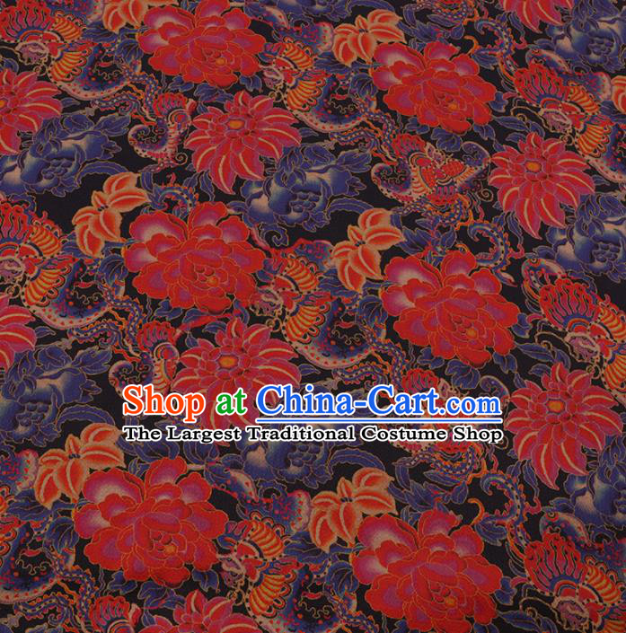 Asian Chinese Gambiered Guangdong Gauze Traditional Satin Plain Classical Red Peony Pattern Cheongsam Silk Drapery