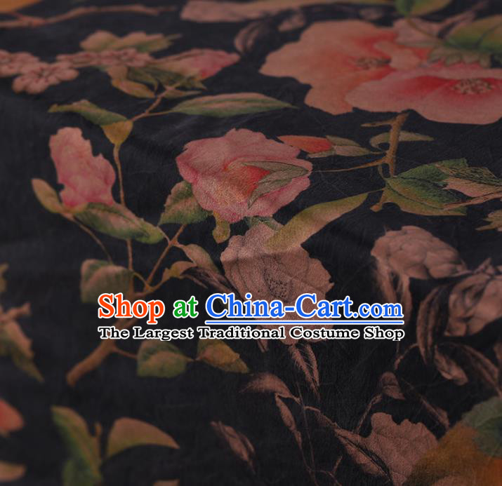 Asian Chinese Gambiered Guangdong Gauze Traditional Black Satin Plain Classical Flowers Pattern Cheongsam Silk Drapery