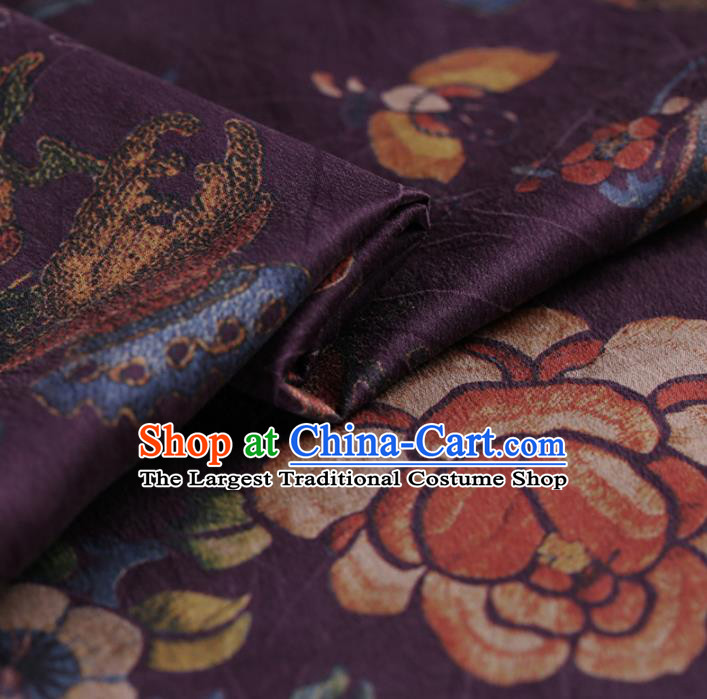 Asian Chinese Traditional Gambiered Guangdong Gauze Purple Satin Plain Classical Peony Pattern Cheongsam Silk Drapery