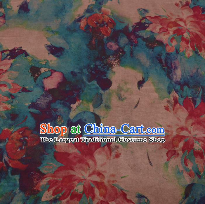 Asian Chinese Traditional Gambiered Guangdong Gauze Blue Satin Plain Classical Lotus Pattern Cheongsam Silk Drapery