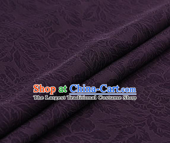 Chinese Traditional Purple Gambiered Guangdong Gauze Satin Plain Classical Peony Pattern Cheongsam Silk Drapery