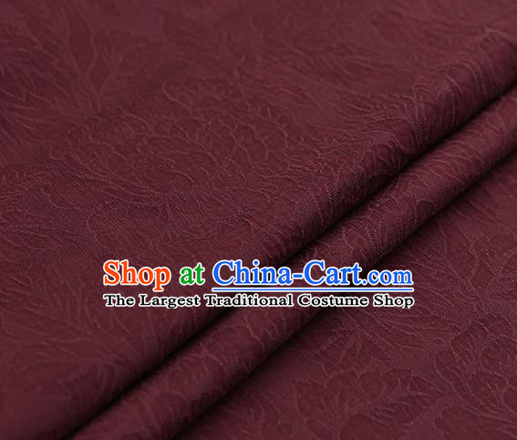 Chinese Traditional Red Gambiered Guangdong Gauze Satin Plain Classical Peony Pattern Cheongsam Silk Drapery