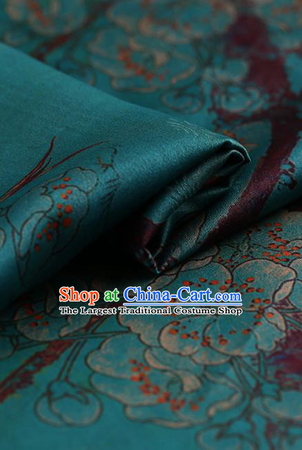 Chinese Traditional Green Gambiered Guangdong Gauze Satin Plain Classical Plum Blossom Pattern Cheongsam Silk Drapery