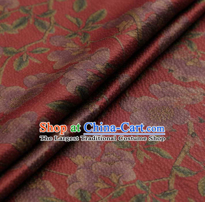Chinese Traditional Red Gambiered Guangdong Gauze Satin Plain Classical Plum Blossom Pattern Cheongsam Silk Drapery