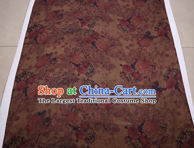 Traditional Chinese Bronze Gambiered Guangdong Gauze Satin Plain Classical Peony Pattern Cheongsam Silk Drapery
