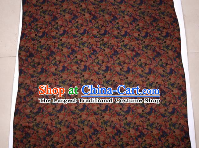 Traditional Chinese Navy Gambiered Guangdong Gauze Satin Plain Classical Peony Pattern Cheongsam Silk Drapery