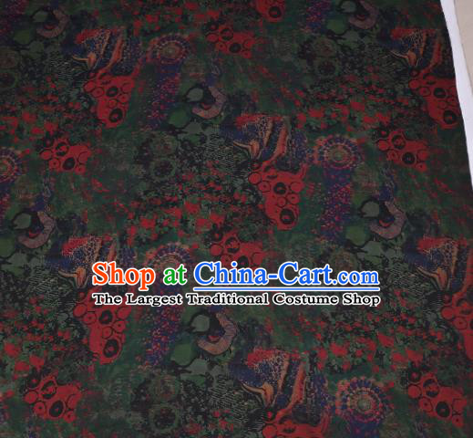 Traditional Chinese Green Gambiered Guangdong Gauze Satin Plain Classical Peony Pattern Cheongsam Silk Drapery