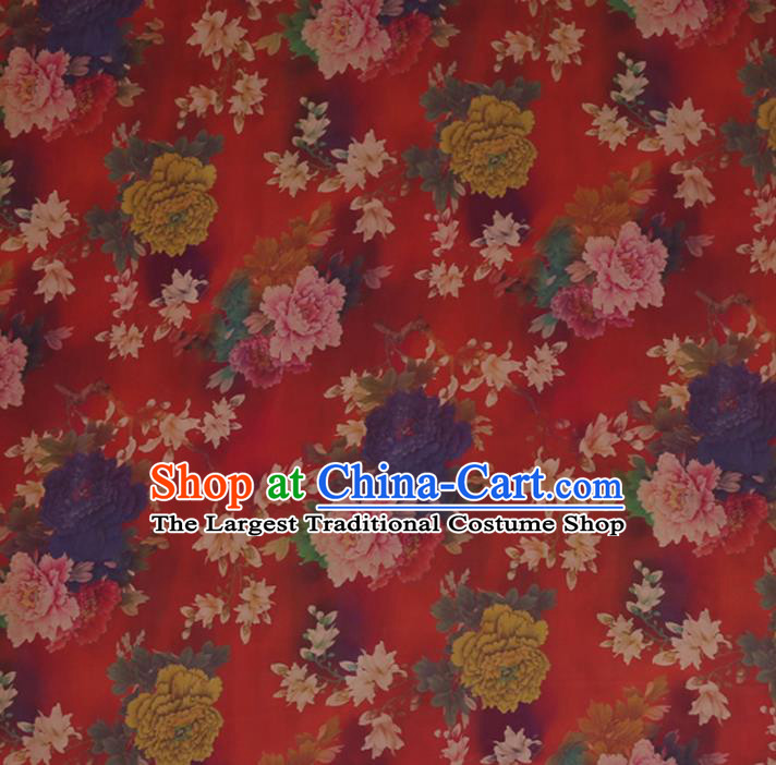 Traditional Chinese Red Gambiered Guangdong Gauze Satin Plain Classical Peony Pattern Cheongsam Silk Drapery