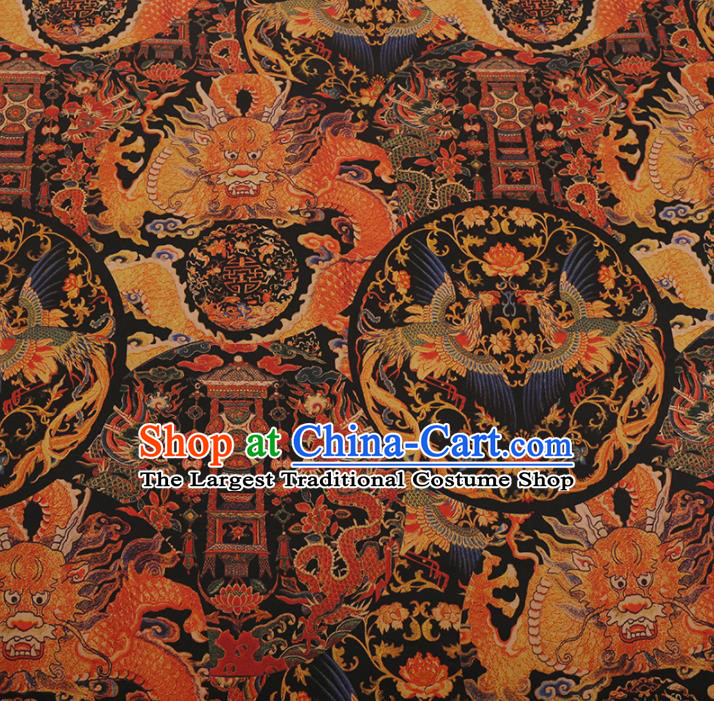 Traditional Chinese Black Gambiered Guangdong Gauze Satin Plain Classical Phoenix Pattern Cheongsam Silk Drapery