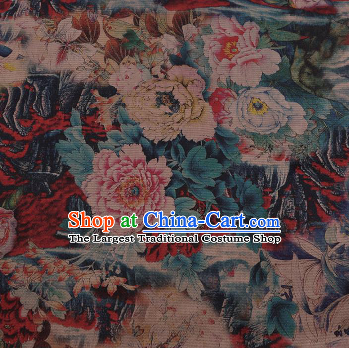 Chinese Traditional Gambiered Guangdong Gauze Satin Plain Classical Peony Pattern Cheongsam Silk Drapery