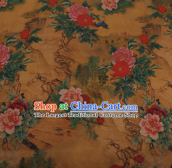 Traditional Chinese Golden Gambiered Guangdong Gauze Satin Plain Classical Peony Pattern Cheongsam Silk Drapery