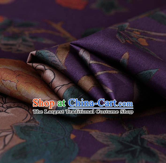 Traditional Chinese Purple Gambiered Guangdong Gauze Satin Plain Classical Peony Pattern Cheongsam Silk Drapery