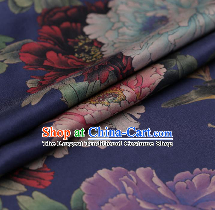 Traditional Chinese Blue Brocade Gambiered Guangdong Gauze Classical Peony Pattern Satin Plain Cheongsam Silk Drapery