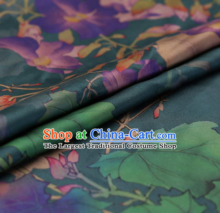 Traditional Chinese Green Brocade Gambiered Guangdong Gauze Classical Peony Pattern Satin Plain Cheongsam Silk Drapery