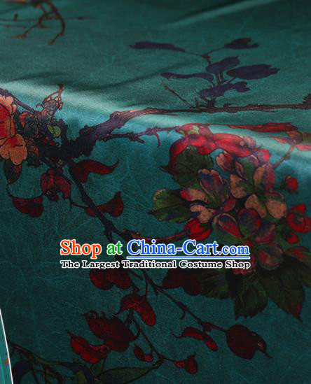Traditional Chinese Green Gambiered Guangdong Gauze Classical Pattern Satin Plain Cheongsam Silk Drapery