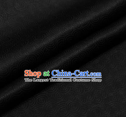 Traditional Chinese Black Brocade Palace Pattern Satin Plain Cheongsam Silk Drapery