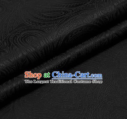Traditional Chinese Brocade Palace Pattern Black Satin Plain Cheongsam Silk Drapery