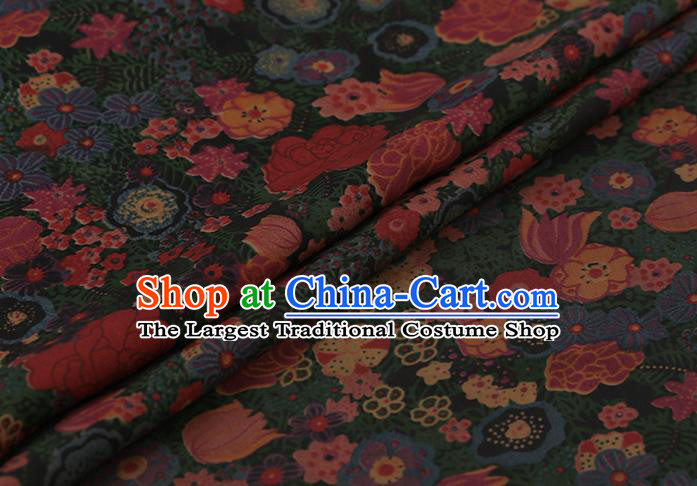 Traditional Chinese Green Gambiered Guangdong Gauze Satin Plain Classical Pattern Cheongsam Silk Drapery