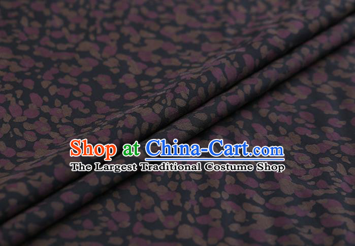 Traditional Chinese Gambiered Guangdong Gauze Navy Satin Plain Classical Pattern Cheongsam Silk Drapery