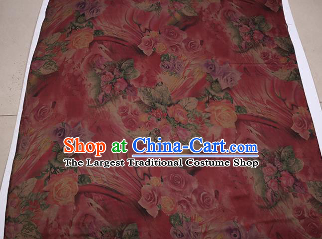 Traditional Chinese Rosy Gambiered Guangdong Gauze Satin Plain Classical Roses Pattern Cheongsam Silk Drapery