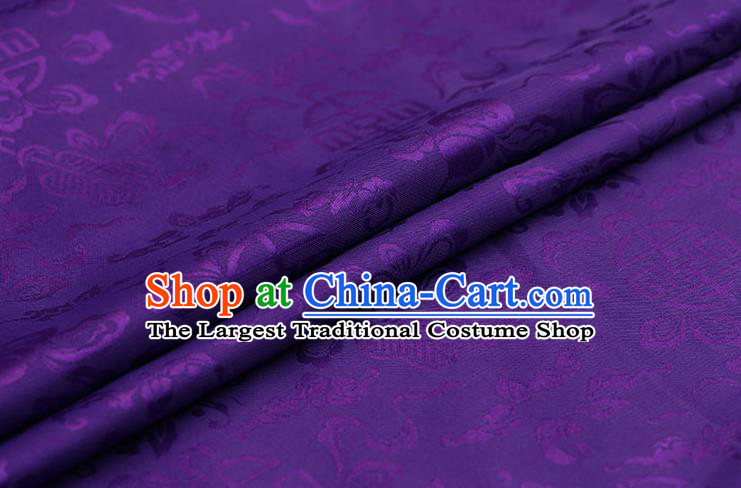 Traditional Chinese Purple Brocade Palace Cucurbit Ribbon Pattern Satin Plain Cheongsam Silk Drapery
