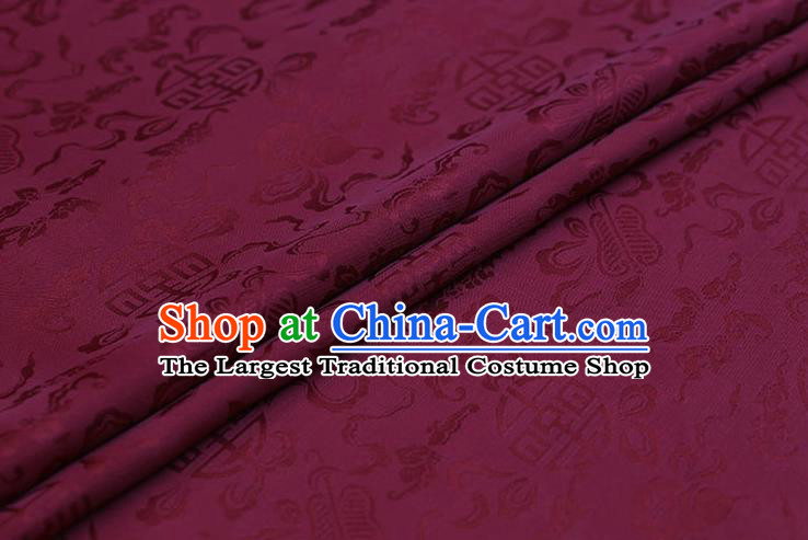 Traditional Chinese Wine Red Brocade Palace Cucurbit Ribbon Pattern Satin Plain Cheongsam Silk Drapery