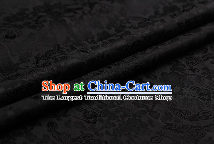 Traditional Chinese Black Brocade Palace Dragons Pattern Satin Plain Cheongsam Silk Drapery