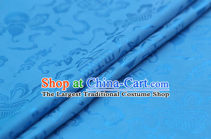Traditional Chinese Lake Blue Brocade Palace Cucurbit Ribbon Pattern Satin Plain Cheongsam Silk Drapery