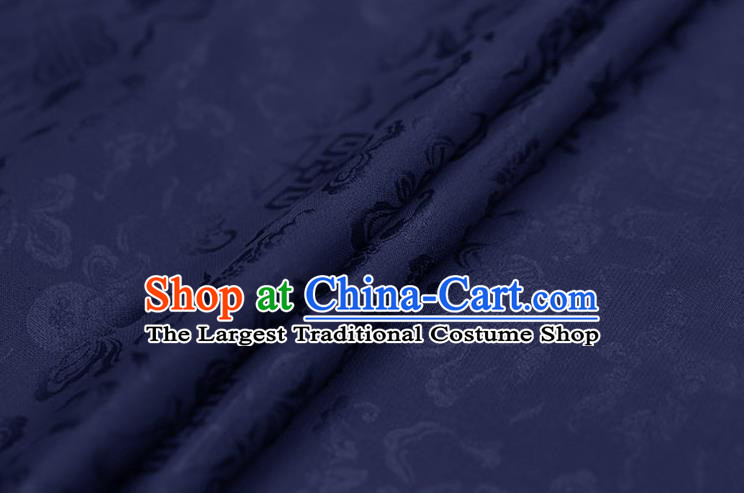 Traditional Chinese Navy Brocade Palace Cucurbit Ribbon Pattern Satin Plain Cheongsam Silk Drapery