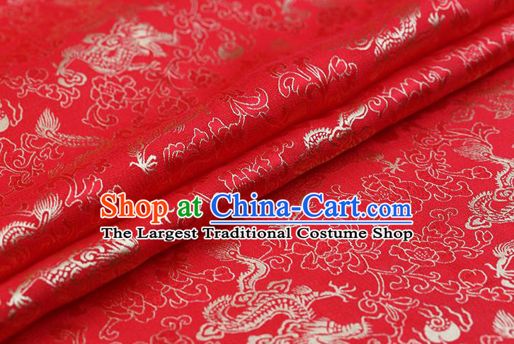 Traditional Chinese Red Brocade Palace Dragons Pattern Satin Plain Cheongsam Silk Drapery