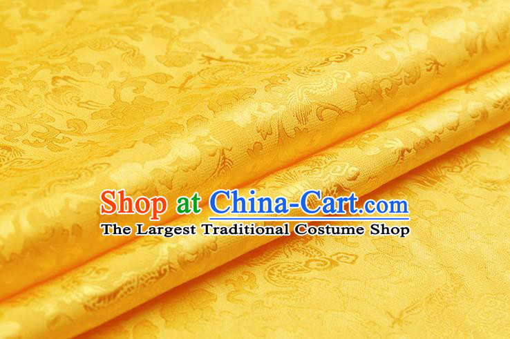 Traditional Chinese Yellow Brocade Palace Dragons Pattern Satin Plain Cheongsam Silk Drapery
