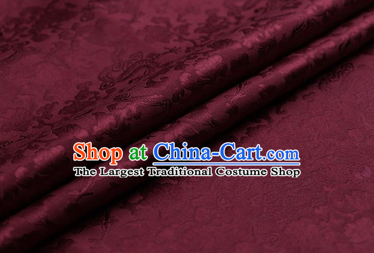 Traditional Chinese Wine Red Brocade Palace Dragons Pattern Satin Plain Cheongsam Silk Drapery
