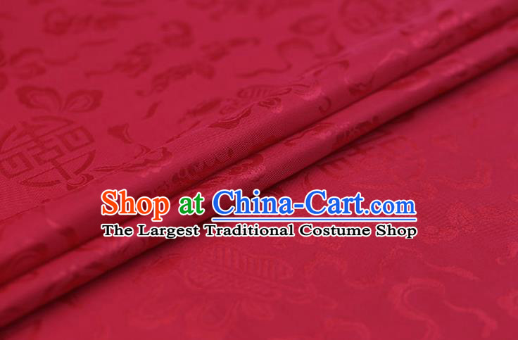 Traditional Chinese Red Brocade Palace Cucurbit Ribbon Pattern Satin Plain Cheongsam Silk Drapery