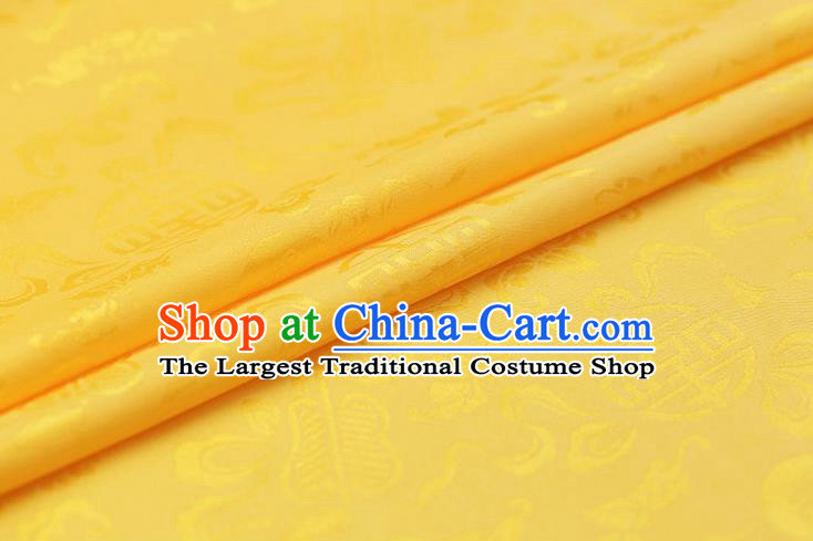 Traditional Chinese Yellow Brocade Palace Cucurbit Ribbon Pattern Satin Plain Cheongsam Silk Drapery