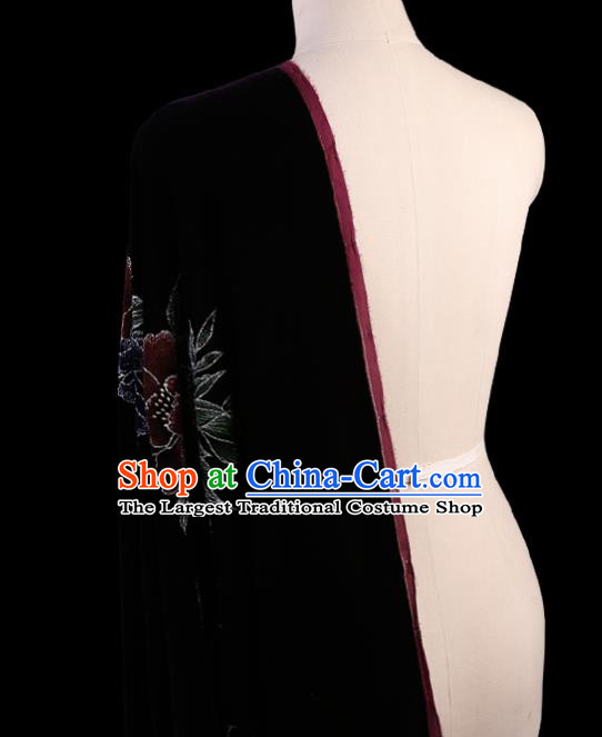 Chinese Traditional Wine Red Velvet Fabric Palace Pattern Cheongsam Pleuche Silk Drapery