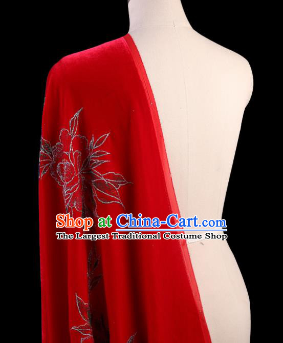 Chinese Traditional Red Velvet Fabric Palace Pattern Cheongsam Pleuche Silk Drapery