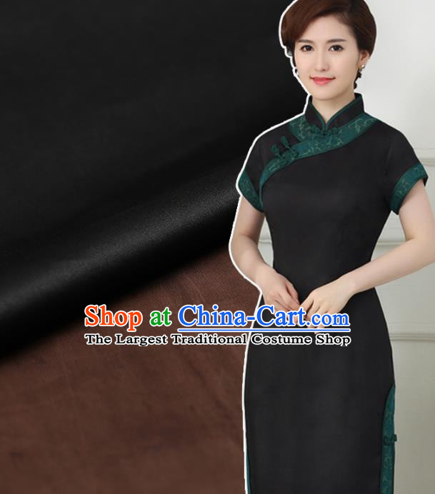 Chinese Traditional Brocade Fabric Palace Pattern Satin Plain Cheongsam Black Silk Drapery