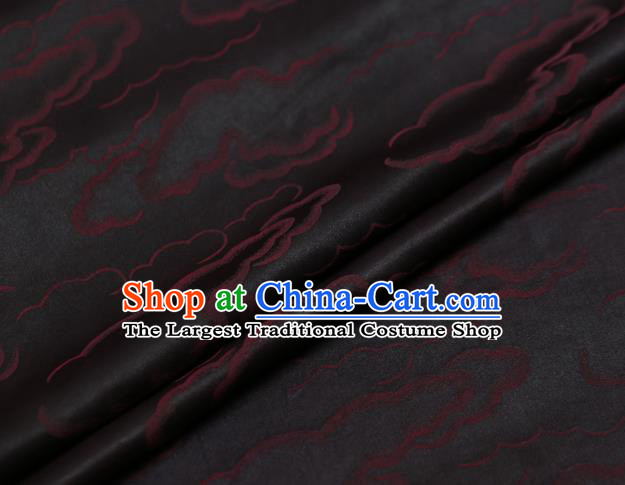 Chinese Traditional Brocade Fabric Palace Red Clouds Pattern Satin Plain Cheongsam Silk Drapery