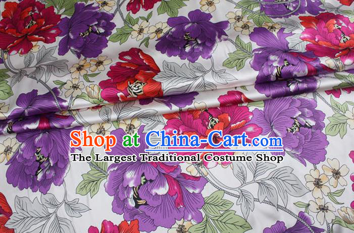 Chinese Traditional Brocade Fabric Palace Peony Pattern White Satin Plain Cheongsam Silk Drapery
