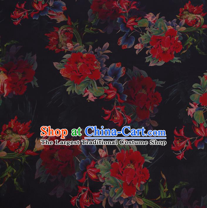 Chinese Traditional Brocade Fabric Palace Peony Pattern Black Satin Plain Cheongsam Silk Drapery