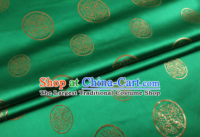 Chinese Traditional Green Brocade Fabric Palace Pattern Satin Plain Cheongsam Silk Drapery