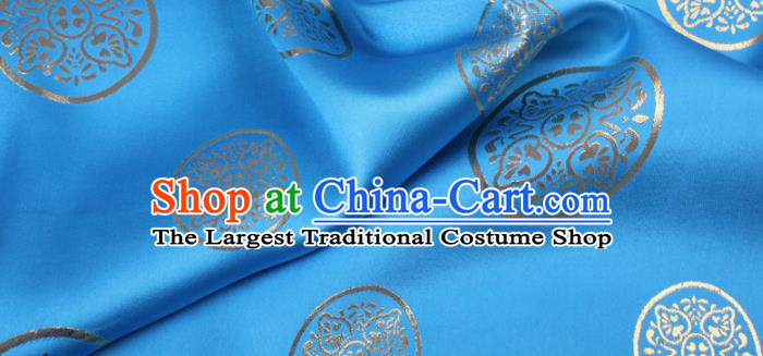 Chinese Traditional Blue Brocade Fabric Palace Pattern Satin Plain Cheongsam Silk Drapery