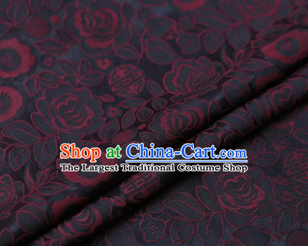Chinese Traditional Gambiered Guangdong Gauze Fabric Palace Red Peony Pattern Satin Plain Cheongsam Silk Drapery