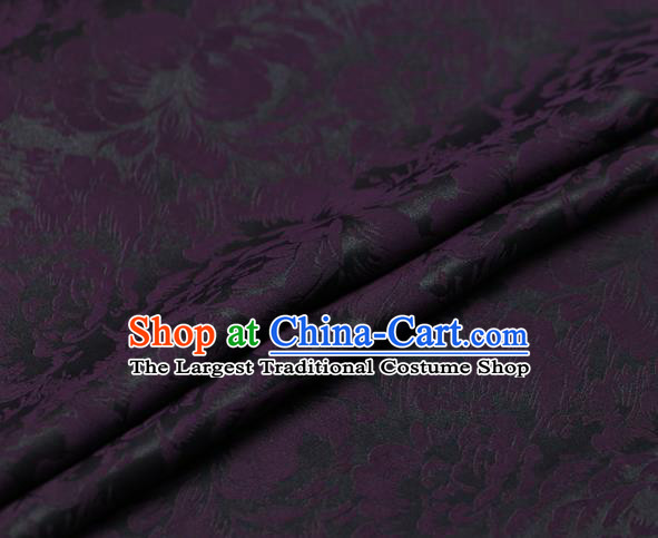 Chinese Traditional Cheongsam Silk Drapery Gambiered Guangdong Gauze Fabric Palace Purple Peony Pattern Satin Plain